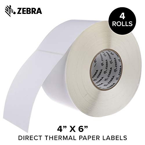 Zebra - 4 x 6 in Direct Thermal Paper Labels, Z-Perform 2000D Permanent Adhesive Shipping Labels, Zebra Industrial Printer Compatible, 3 in Core - 4 Rolls ()