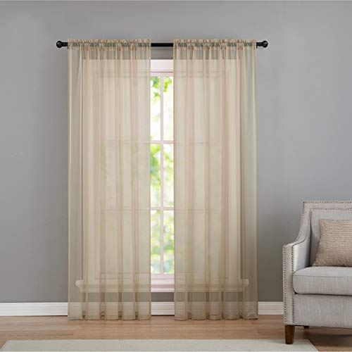 (VCNY Home Infinity Rod Pocket Sheer Window Curtains Panel Pair, 108x96, Natural)