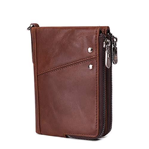 Mens Short Wallets RFID Blocking, Minimalist Genuine Leather Zipper Purse Bifold
