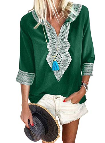 FARYSAYS Women's Tops Fashion 2019 3/4 Sleeve V Neck T-Shirts Bohemian Embroidered Casual Loose Blouse Green Small