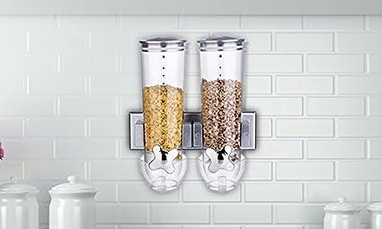 Dispensador doble; para cereales y alimentos secos con bandeja integrada, con diseño antiderrames,