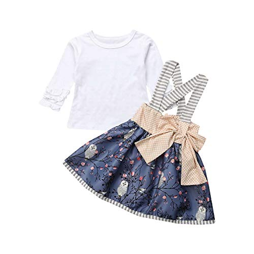 Baby Girl Lace Sleeve Shirt Whit Toddler Suspender Skirt Floral Dress 2Pcs Clothes Outfit Set (White, 90/12-18 Months)