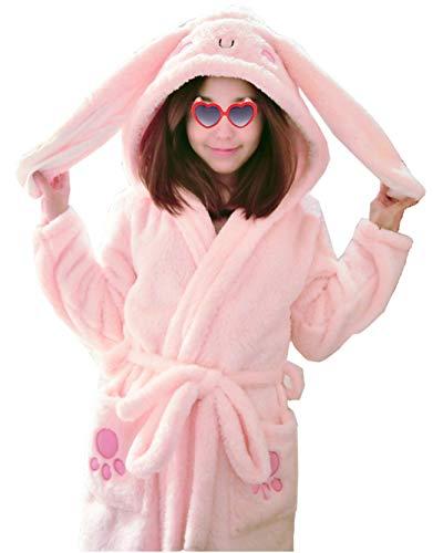 Femaroly Girls Cartoon Fleece Bathrobe Robe Autumn Winter Soft Cosy Hooded Dressing Gown Long Ears XXS