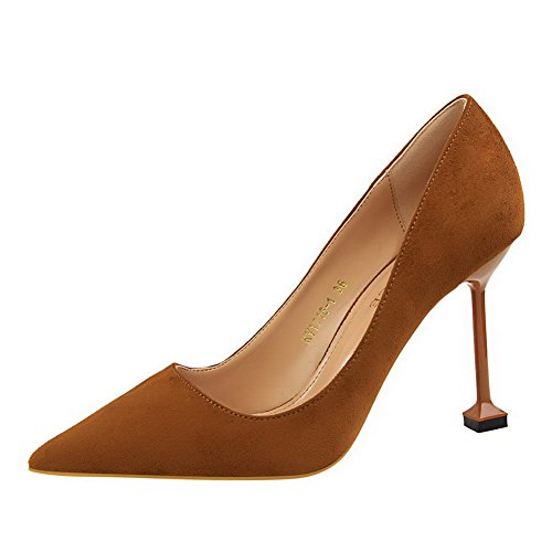 Toe Imitated Camel Round Shoes Pumps High Closed on Solid Women's Suede Heels WeiPoot Pull wq0C0p