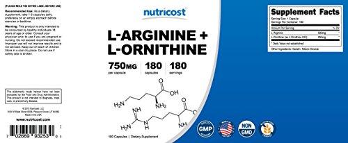 Nutricost L Arginine L Ornithine 750mg; 180 Capsules