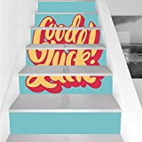 Stair Stickers Wall Stickers,6 PCS Self-adhesive,Going Away Party Decorations,Vibrant Colored Old Fashioned Calligraphy Vintage,Turquoise Yellow Coral,Stair Riser Decal for Living Room, Hall, Kids Roo