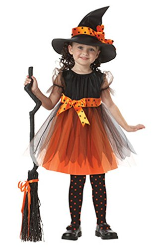 Sweet Halloween Costume Witch Girl Bowtie Butterfly Costume Tulle With Black Hat (100)