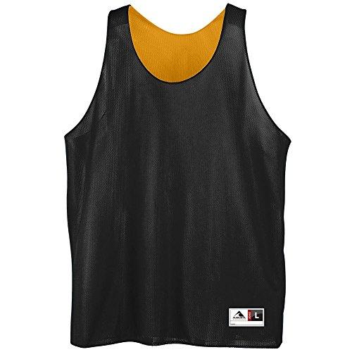 Augusta Sportswear Mens Reversible Mini Mesh League Tank, Black/Gold, X-Large