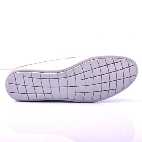 Santimon Mens Leather Backless Slippers Slip-on Loafters Shoes White mcL9GYMNl