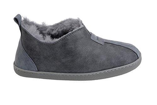 Pantoufles Luxe B002 Chaud Peau de Chaussons Mouton Gris Chaussures Femmes Vogar Laine avec Doublure wX5ZvqF7