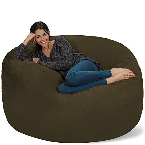 Chill Sack Bean Bag Chair: Giant 5' Memory Foam Furniture Bean Bag - Big Sofa with Soft Micro Fiber Cover - Olive Olive Fabric Sofa