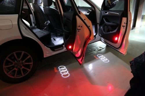 2 Pack Flyox Car Door LED Lighting Entry Laser Ghost Shadow Projector Welcome Lamp Logo Light for Audi Series