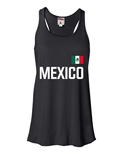 XX-Large Black Womens Mexico Soccer Futbol Jersey Style Flowy Racerback Tank Top T-Shirt