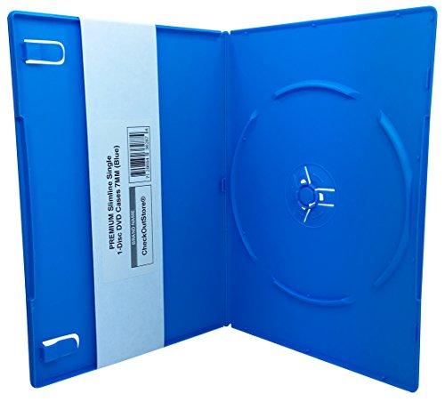 CheckOutStore (50) Premium Slimline Single 1-Disc DVD Cases 7mm (Blue)