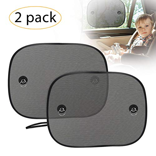 - UBEGOOD Car Window Shade, Car Side Window Sunshades, Foldable Double-Layer Mesh Sun Block with Strong Suction Cups, Protect Kids Pets from Sun/UV Rays, Universal Size(2 Pack)
