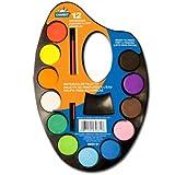 Watercolor palette wih paints, palette de peintures a eau avec pinceau