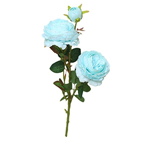(Ranoff Artificial Flower Fake Flower Artificial Fake Western Rose Flower Peony Bridal BouquetArtificial Plants Decor Plant Home Garden Office Wedding Decor (Blue))
