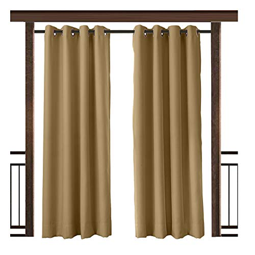 TWOPAGES Wheat Outdoor Curtain Waterproof Rustproof Grommet Drape 150 W x 96 L Inch, for Front Porch Pergola Cabana Covered Patio Gazebo Dock Beach Home (1 Panel) - Outdoor Fabric Curtains