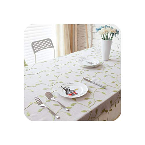 Proud Rose Cotton Tablecloth Blue Embroidered Table Cloth Table Decor Chair Cushion Modern Table Cover Dustproof Cloth,White,140x140cm