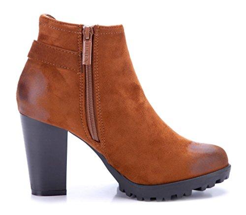 Used Blockabsatz Damen Klassische cm Schnalle Boots Stiefel 9 Schuhtempel24 Look Camel Schuhe Stiefeletten q8gwHYxZx