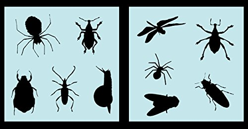 Auto Vynamics - STENCIL-ANIMALS-INSECTSET01-10 - Detailed Bugs & Insects Stencil Set - Everything From Spiders to Roaches to Dragon Flies! - 10-by-10-inch Sheets - (2) Piece Kit - Pair of Sheets -