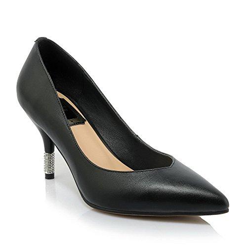 A Di on scarpe In Donne Delle Pull Solide Allhqfashion Pompe Nera Pelle Punta Mucca Tacchi Chiusa Alti Punta H8wqZq