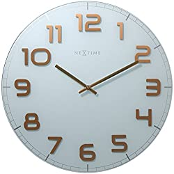 Unek Goods NeXtime Classy Wall Clock, 19.7 Diameter, Large, Round, White with Big Shiny Copper Numbers, Glass, Decorative, Battery Operated