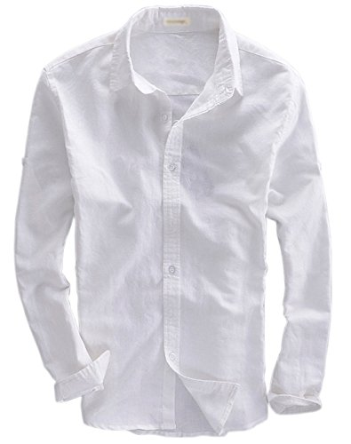 Qiuse Men's Basic Square-Collar Fitted Linen Dress Shirt Long Sleeve Tops (X-Small, White) - Linen Blend Shirt Top