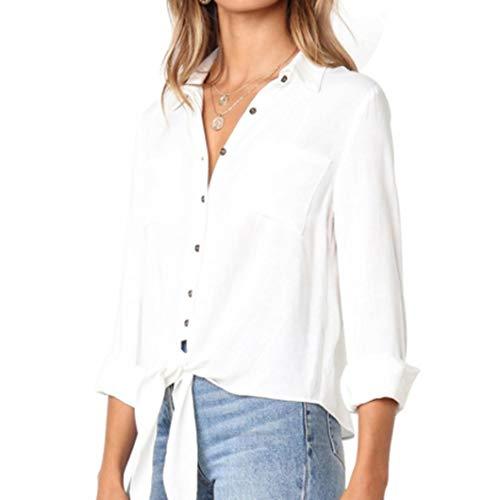 Rend Toute Vous Bandage Longues Occasion pour Crushed White de Shirt Femmes Design T Plus MuSheng Chemise Solid Sexy Blanc fte boutonn adapt col Occasionnels Manches 1aTwfxqw