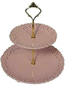 Battenburg - Princess Pink Two Tier Cookie Tidbit Tray - Perfect for Tea Parties