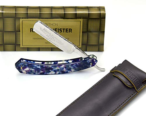 GERMAN ~ SHAVE READY ~ STRAIGHT RAZOR ~ HIGH SPEED STEEL - FAUX TORTOISE SHELL HANDLE STRAIGHT EDGE RAZOR PYTHON