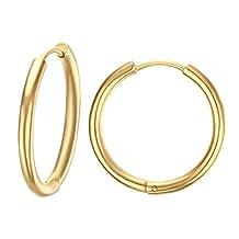 UM Jewelry Hip Hop Stainless Steel Mens Womens Endless Hoop Earrings for Cartilage 20mm