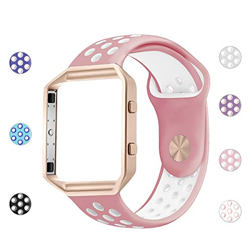 iGK Silicone Replacement Bands Compatible for Fitbit Blaze, Soft Sport Strap with Metal Frame for Fitbit Blaze Blush Pink & White Band with Rose Gold Frame Small