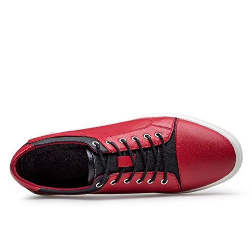 WZG zapatos blancos de otoño e invierno de los hombres hechos a mano de los zapatos ocasionales de cuero, zapatos de deporte de los zapatos de encaje plana salvajes Red