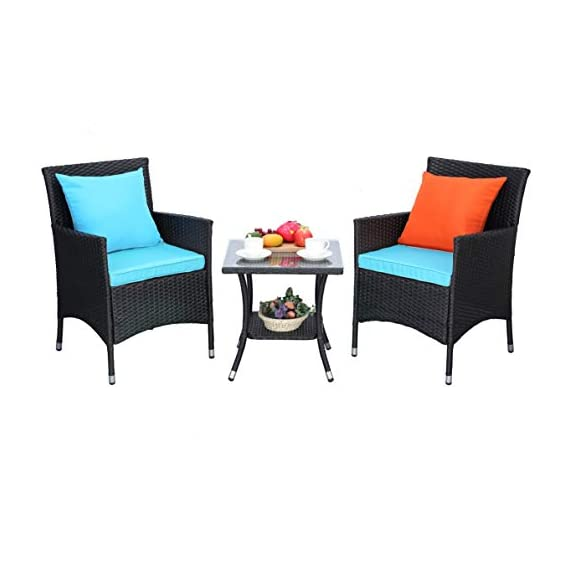 Do4U Outdoor Furniture Sets 3 Pieces Patio Wicker Bistro Set with Coffee Table Garden Lawn Dining Chairs (Turquoise) - 【3 PCs Patio Set Included】Composed of 2 single sofas and 1 coffee table with tempered glass for the complete outdoor conversation set. NO PILLOWS. 【All Weather-Resistant Resin】Designed Perfect for indoor, outdoor garden, apartment, park, porch, poolside and yard use, this wicker conversation set is strong enough to withstand the rain, sun, and wind. 【Upgraded Comfort】These lofty sponge padded cushions won't collapse after use, resist water, and easy to clean in between uses, and the cushion covers remove with a quick zip. - patio-furniture, patio, conversation-sets - 41NMlR1t5pL. SS570  -