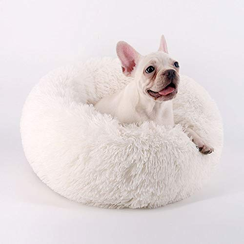 Orchid Stone Concise Style Round Donut Pet Bed,Comfortable and Warm Cuddler,Four Seasons Universal Cushion, Thick Full Plush Fur, Close-Fitting Protection Cozy ()
