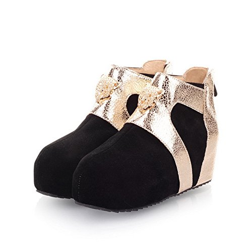 AmoonyFashion PU Black Metalornament Colors B Frosted Closed Heels M Womens Round Toe Boots Kitten 7 US Assorted with rYqFOrx