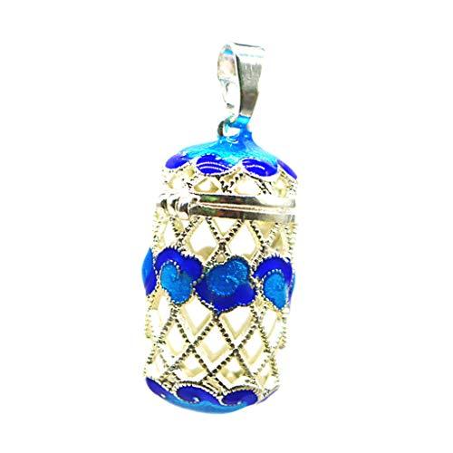 Fityle Perfume Essential Oil Perfume Cylinder Diffuser Locket Pendant Blue Enamel Filigree Hollow Cylinder Flower Casket 8 Styles - 6