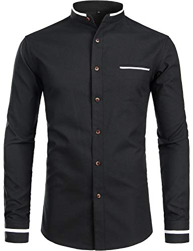 ZEROYAA Mens Hipster Mandarin Collar Slim Fit Long Sleeve Casual Button Down Oxford Dress Shirt with Pocket Z113 Black XX-Large