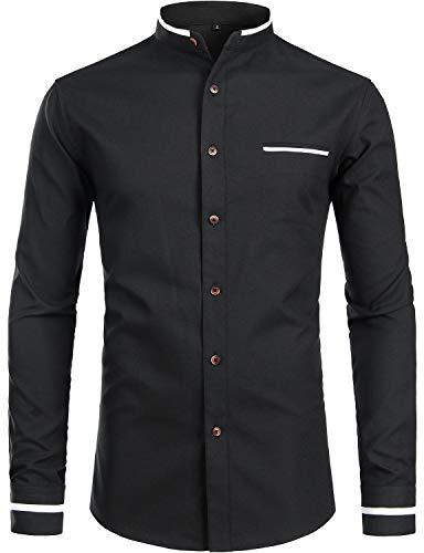 - ZEROYAA Mens Hipster Mandarin Collar Slim Fit Long Sleeve Casual Button Down Oxford Dress Shirt with Pocket Z113 Black XX-Large