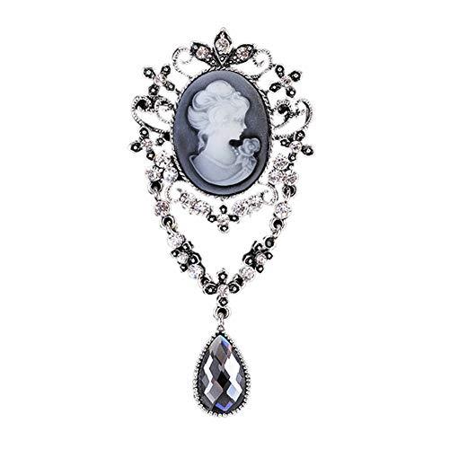 Ever Cute Vintage Cameo Filigree Brooch Crystal Pendant Necklace Rhinestone Wedding Jewelry-Silver