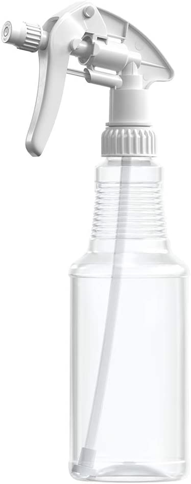 BAR5F Empty Plastic Spray Bottles 16 oz, BPA-Free Food Grade, Crystal Clear PETE1, White M-Series Fully Adjustable Sprayer (Pack of 1)