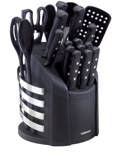 Farberware 5083347 17-Piece Stainless Steel Knife and Kitchen Tool Set with Storage Carousel, Black