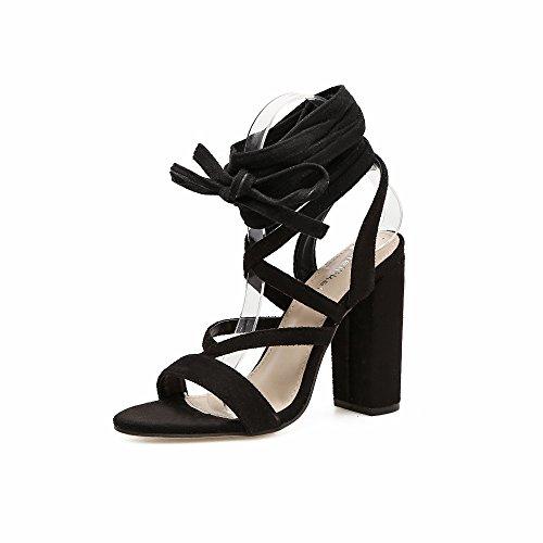 con de gruesas de ZHZNVX brown Las las sandalias tiras tacón de alto sandalias transversales elegantes tacón satén sexy elegante cC6rOC