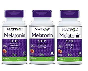 Natrol Melatonin Fast Dissolve Tablets, Strawberry Flavor, 3mg, 90 Count (Pack of 3)