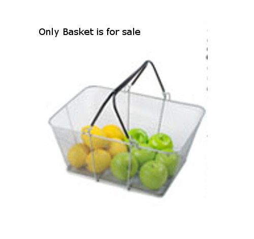 Count of 12 New Silver Mesh Shopping Baskets 16 in. W x 12 in. D x 6 1/2 in. H by mesh Shopping Baskets