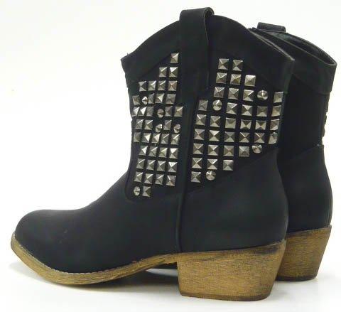 Schuh-City Damen Schuhe Stiefeletten Cowboy Kunst Fell Nieten Stiefel schwarz 36