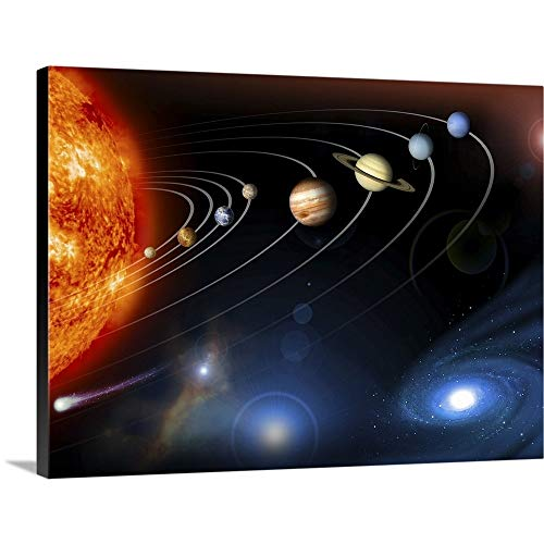 Canvas on Demand Premium Thick-Wrap Canvas Wall Art Print Entitled Solar System Planets 40''x30'' by CANVAS ON DEMAND