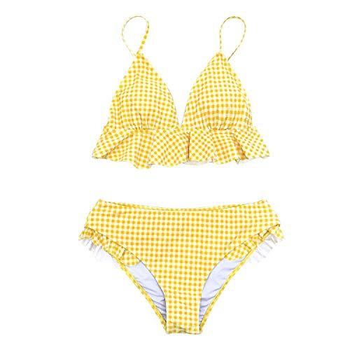 FINDYOU Yellow Gingham Ruffled Bikini Sets Women Sweet Two Pieces Swimsuits Beach Bathing Suits Swimwear,Yellow,S