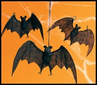 amazoncom fun express halloween hanging bats 3 pieces toys games - Halloween Bat Decorations